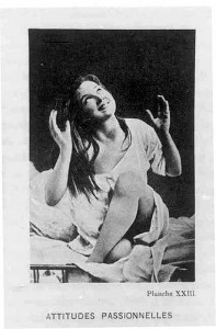 Photograph of a woman in a hysterical pose