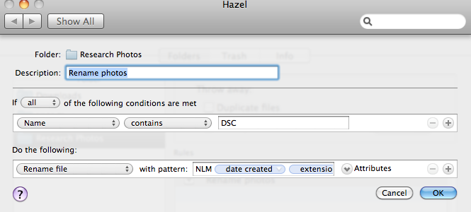 Using Hazel to rename files