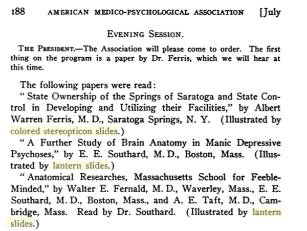 Program from the American Medico-Psychological Association, 1915