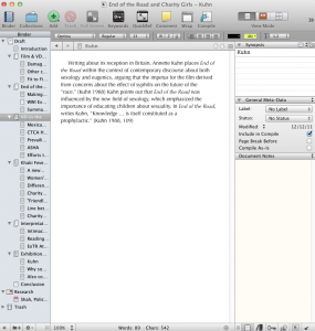 Screenshot of Scrivener in action