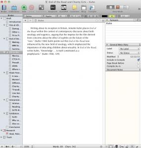 Screenshot of Scrivener in action