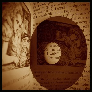 Alice in Wonderland reflected in a CD