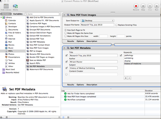 Use Automator to combine your research photos into one PDF