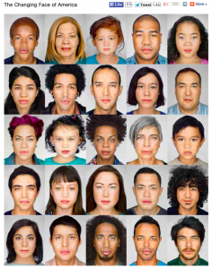 A grid of faces