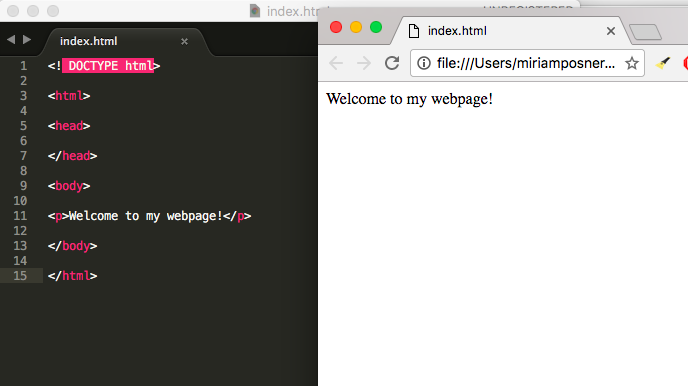 A text document open in Atom, alongside a browser displaying the same code.