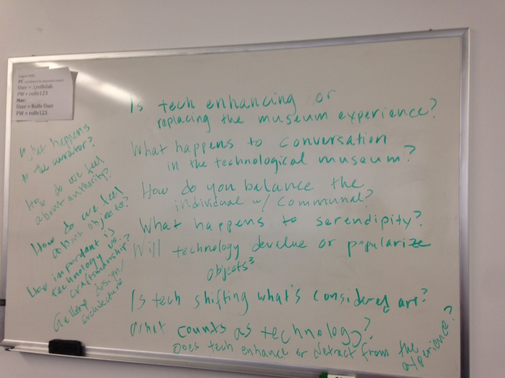 This whiteboard contains our initial questions about museums in the digital age.