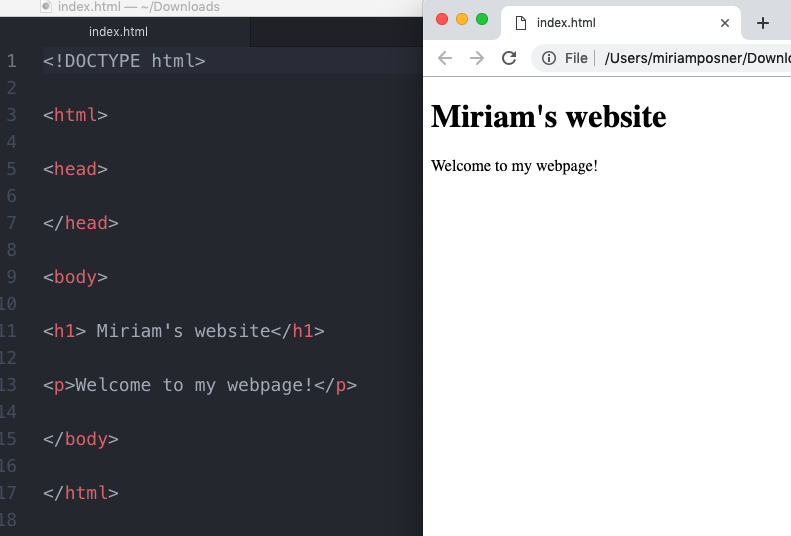 Code editor open in one window and browser open in the other.