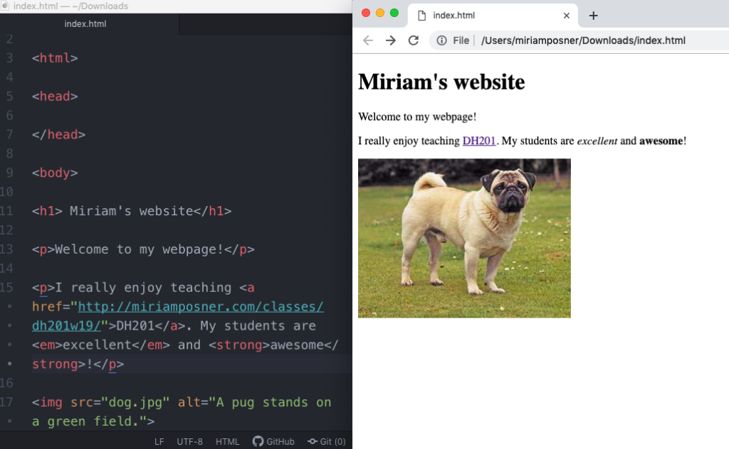 Em and strong tags created in the code and displayed in the browser.