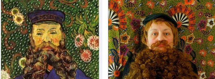 A portrait by Van Gogh juxtaposed with a re-created portrait, including an elaborate beard