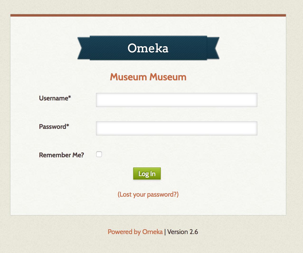 The Omeka login screen