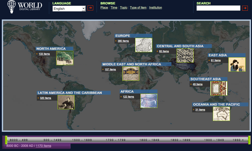 Screenshot of the World Digital Library homepage