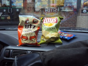 Chips and beef jerky