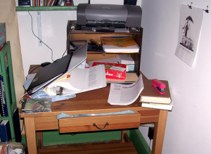 My desk in the wake of oral exams