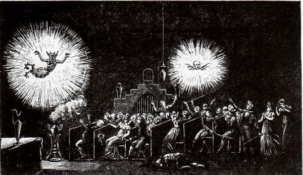Audience amidst a fantasmagorie