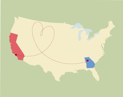 Image of the U.S., with the states of Georgia and California highlighted and connected by a dotted line in the shape of a heart.