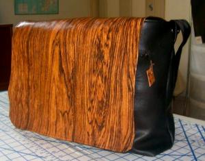 Woodgrain vinyl messenger bag
