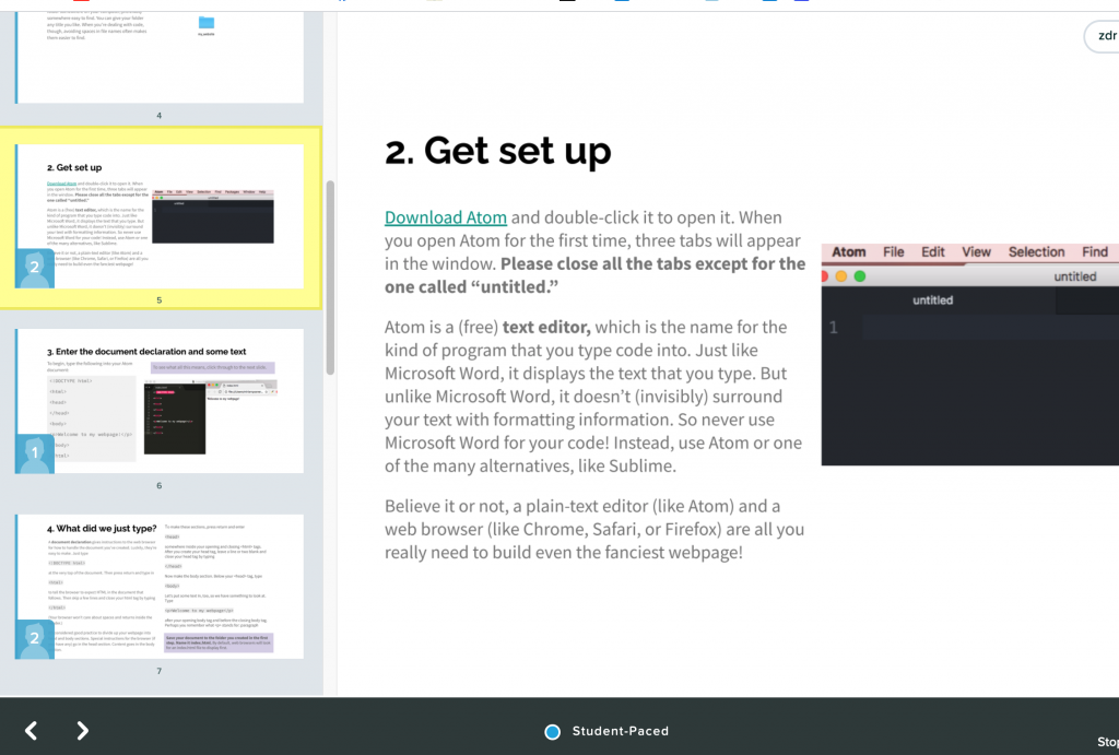 screenshot of teacher dashboard from Pear Deck. The main view shows one slide with instructions on it, while a sidebar shows other slides in the deck. small blue boxes with numbers on them show how many students are on each slide.
